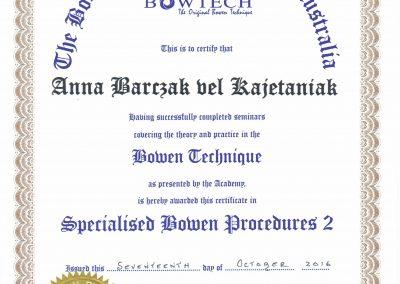 Certyfikat potwierdzający ukończenie Specjalistycznych Procedur techniki Bowena poziom 2