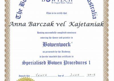 Certyfikat ukończenia kursu Specjalistycznych Procedur techniki Bowen poziom 1
