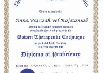 Technika Terapeutyczna Bowena - dyplom ukończenia